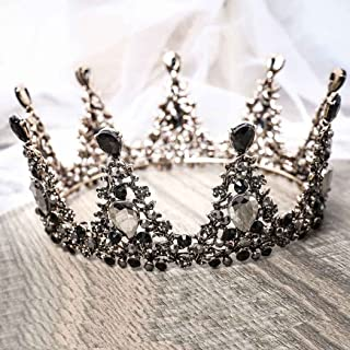 Aukmla Black Crown Gothic Wedding Headpiece Tiara Dolce Baroque Crown Bridal Crystal Tiara Diadem Cosplay Dark Evil Queen Crown for Women and Girls