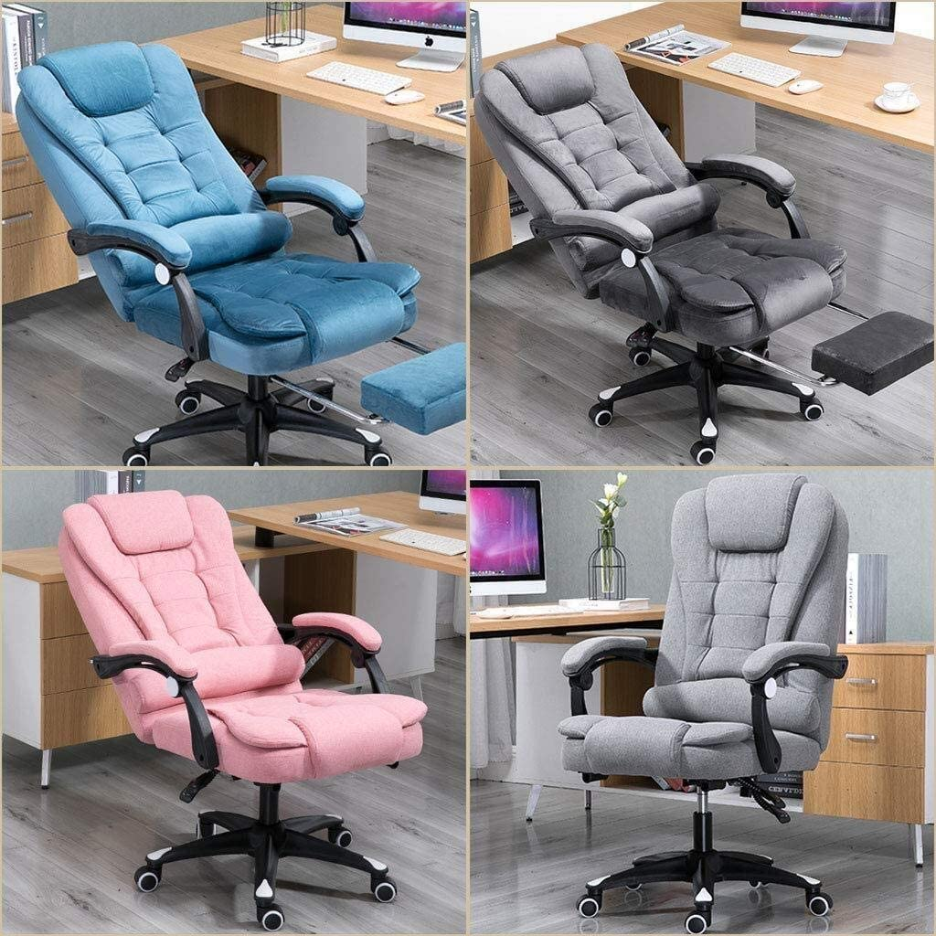 Fauteuil de direction modernes Chaises Ordinateur CONFORTABLE Bureau Jeu Chaise lin Fabric Reclining Tabouret |360 degrés pivotant |8cm Hauteur ajustable (Color : Light Grey) Pink