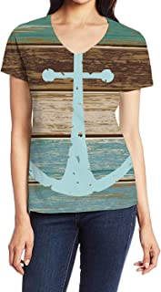 Women's V-Neck Short Sleeve Blouse T Shirts Casual Tops Blue Nautical Anchor Rustic Old Barn Wood