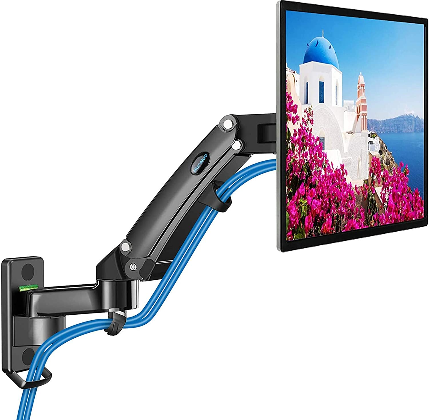 HUANUO Monitor Wall Mount - Gas Spring Arm Wall Mount Stand for 24 to 35 Inch Screen, Full Motion Adjustable Vesa Bracket, Hold 6.6 to 26.4lbs, Vesa 75 100 200
