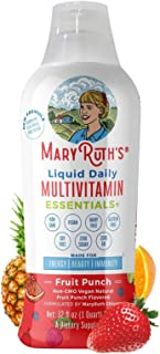 Morning Liquid Multivitamin + Zinc + Elderberry + Organic Whole Food Blend by MaryRuth's (Fruit Punch) Vitamin A B C D3 E ...