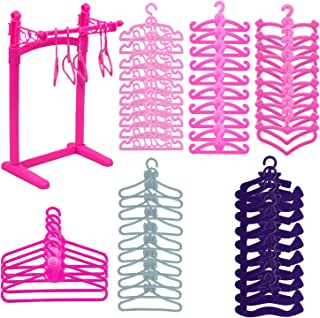 HighFun 60Pack Doll Furniture Clothing Rack 55PCS Colourful Plastic Little Doll Hangers for Barbie Doll Clothes Wardrobe D...