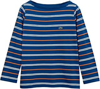 Lacoste Women's Boat Neck Cotton Blend Sailor T-Shirt