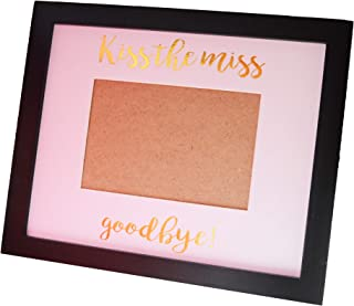 Kiss The Miss Goodbye Picture Frame Bachelorette Party Bridal Shower Keepsafe Gifts for Bride to be Guest Book (Black)