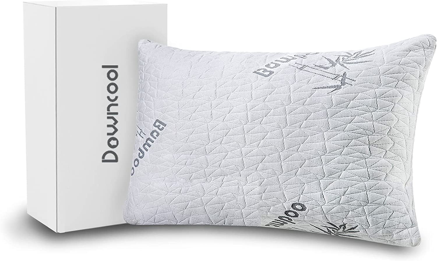 DOWNCOOL Premium Pillow for Sleeping - 1 Pack Cooling Shredded Memory Foam Bed Pillow with Washable Bamboo Cover - for Side Neck Stomach Sleepers and Shoulder Pain (Queen)