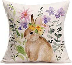 Asminifor Throw Pillow Covers Colored Spring Flower Grass Around The Rabbit Printed Decorative Pillow Case Cushion Cover Home Decoration Cotton Linen Pillowcases 18 x 18 Inch (Floral-Bunny)