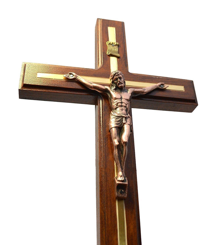 Handmade Crucifix Wall Cross - Wooden Catholic Hanging Crucifix for Home Decor - 12 Inch