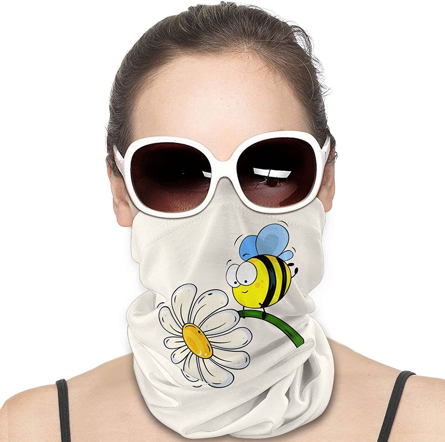 Flowers Funny Cute Bee Round Neck Gaiter Bandnas Face Cover Uv Protection Prevent bask in Ice Scarf Headbands Perfect for Motorcycle Cycling Running Festival Raves Outdoors