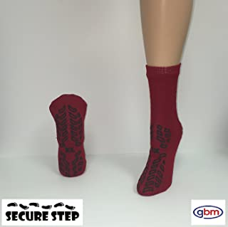 Secure Step Double-Sided Non Slip Comfort Safety Sock - Red - XLarge (2 Pair) - Men's Size: 8-9 / Women's Size: 9-10