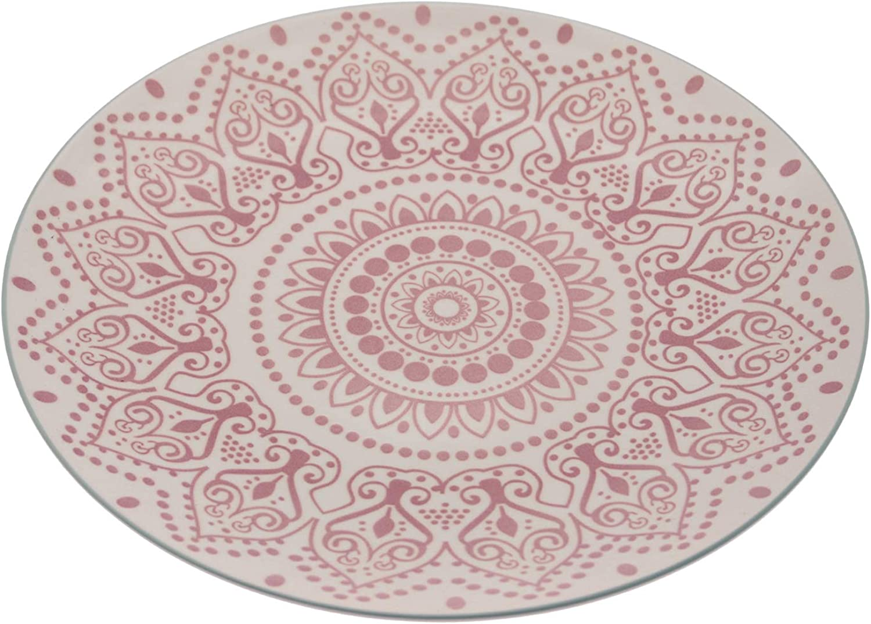 DRW Lot de 6 Assiettes Plates en céramique avec Dessins en Blanc et Rouge 26,3 x 26,3 x 2,5 cm