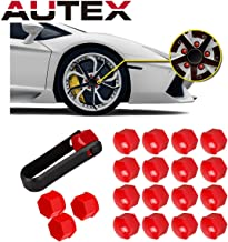 AUTEX 20pcs Red Wheel Lug Nut Center Cover Cap + Removal Tool Replacement for Toyota Avalon Camry Corolla Sienna Highlander Matrix