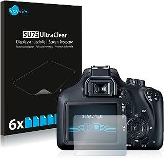 savvies Protector Pantalla Compatible con Canon EOS 4000D (6 Unidades) Pelicula Ultra Transparente