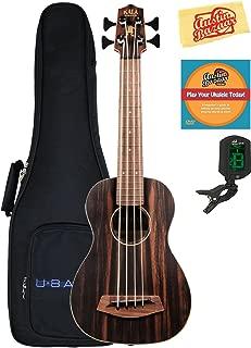 Kala UBASS-EBY-FSRW Striped Ebony Acoustic-Electric Ubass Ukulele Bundle with Gig Bag, Tuner, Austin Bazaar Instructional DVD, and Polishing Cloth