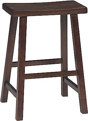 "International Concepts Saddle Seat Barstool Walnut 24"""