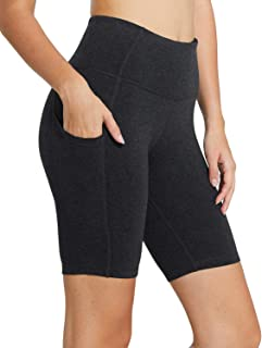 "BALEAF Women's 8"" High Waist Biker Workout Yoga Running Compression Exercise Shorts Side Pockets Charcoal Size XL"