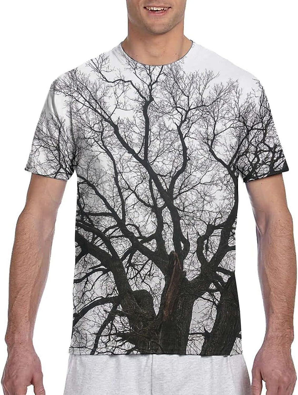 Nature Leafless Autumn Tree Branches Tops Oak Forest Woodland Season Boys T Shirt Men Short Sleeve T Shirt Top Tee