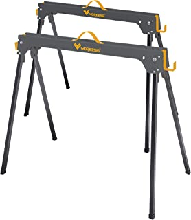 29 in. H Metal Folding Sawhorse with 1,100 lbs. Load Capacity Per Horse (2-Pack)