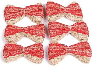PIXNOR Pcs Jute Burlap Lace Bow Bowknot Bow Ties