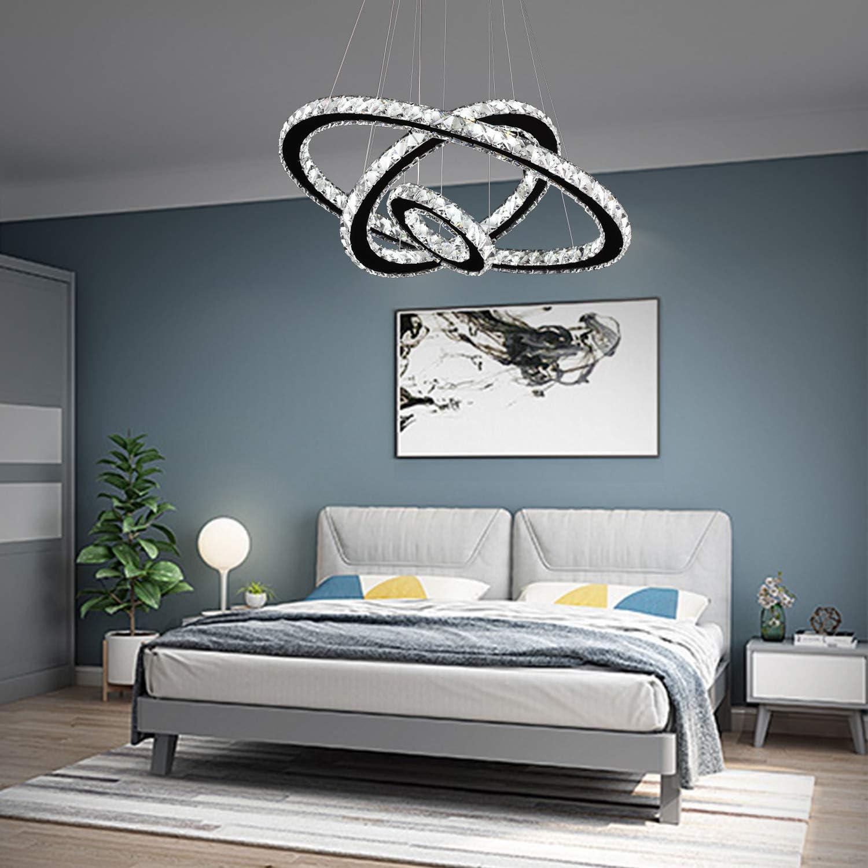 Arxeel Modern Crystal Chandelier, Contemporary Led Ceiling Lights Fixtures  Pendant Lighting for Living Room Bedroom Restaurant Porch Dining Room (12