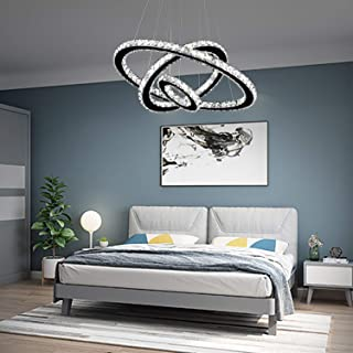 "Arxeel Modern Crystal Chandelier, Contemporary Led Ceiling Lights Fixtures Pendant Lighting for Living Room Bedroom Restaurant Porch Dining Room (3 Rings, Dia 27.5""+19.6""+11.8"")"