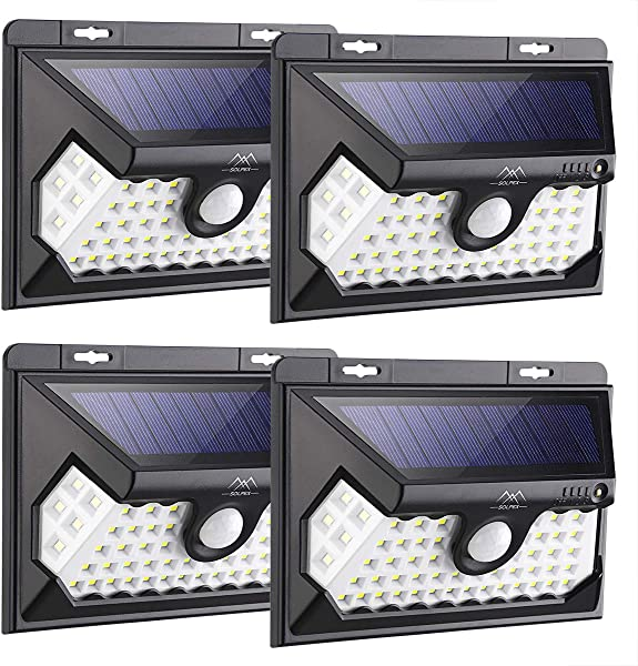 Solpex 58 LED Solar Lights Outdoor Waterproof Solar Motion Sensor Lights 270 Wide Angle Wireless Easy To Install Security Lights For Front Door Yard Garage Deck 4 Pack