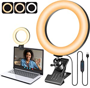 Video Conference Lighting - 6'' Desk Clip on Ring Light for Computer Monitor Laptop, Small Circle Light with Clamp Mount for Video Call, Zoom Meeting, Webcam Lighting, Video Recording, Reading