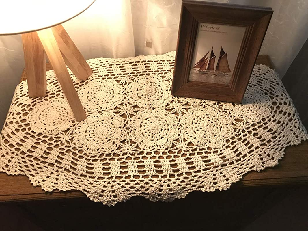 Damanni Oval Cotton Handmade Crochet Lace Table Runner Doilies Dresser Scarf 15 Inch By 27 Inch Beige