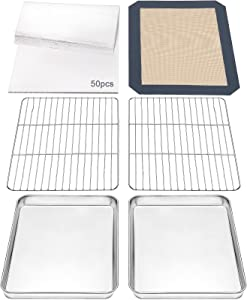 CEKEE 55 PCS Baking Sheet Rack Mat Set, 2 Stainless Steel Baking pans + 2 Cooling wire Racks + 1 Silicone Baking Mat + 50 Parchment Papers Oven Safe, Sturdy & Healthy Dishwasher Safe(9 Inch)