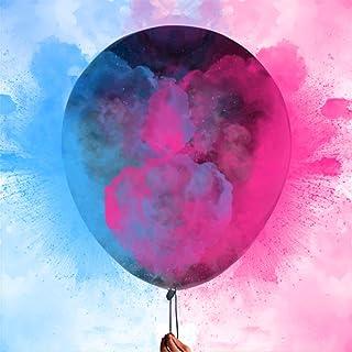 بالونات بودرة تكشف عن الجنس 36 انش - تأتي مع 100 غرام وردي، 100 غرام مسحوق أزرق، 2 بالونات لاتكس سوداء جامبو أعلى جودة 90 ...