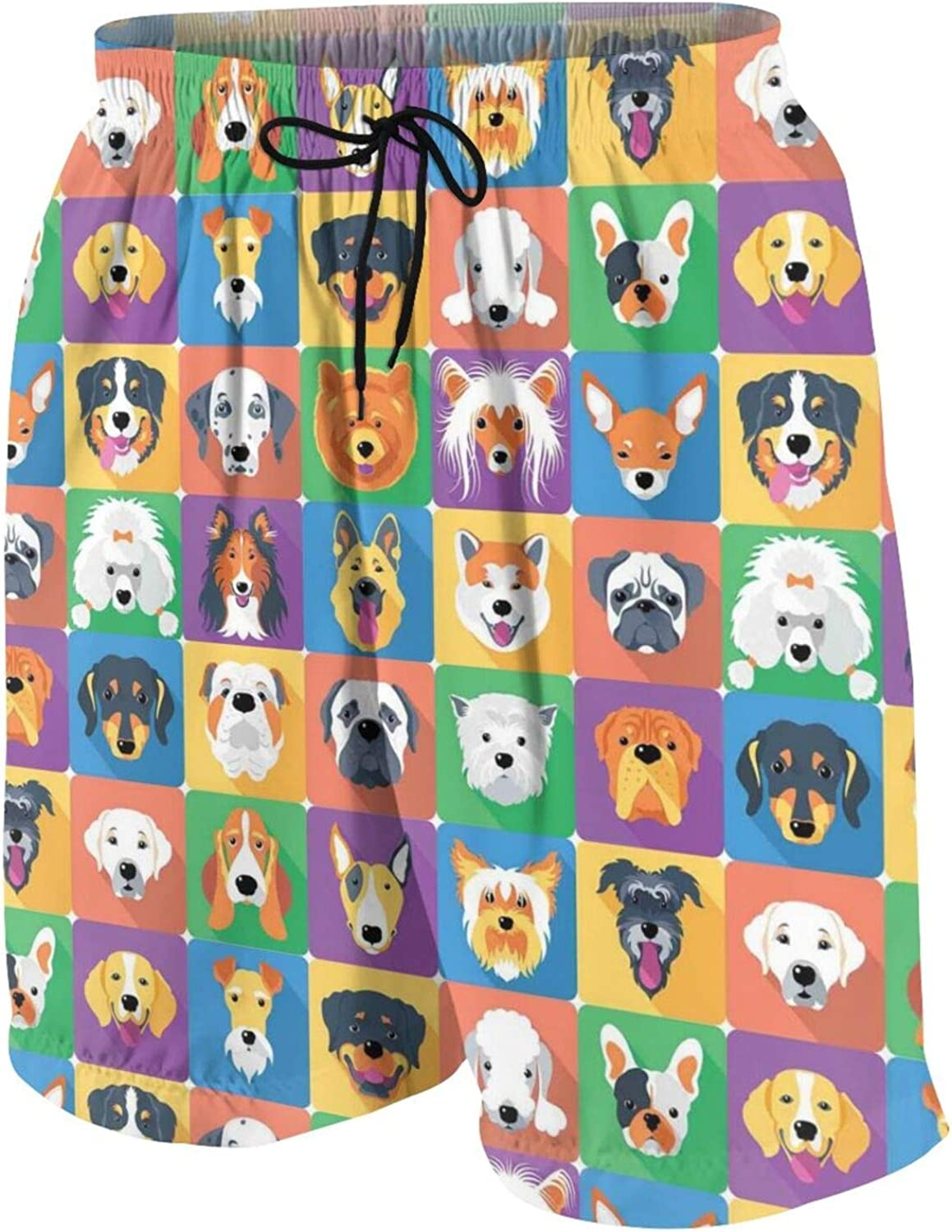 Dog Breeds Cute Dogs Head Patterns Big Boys' Quick Dry Swim Trunks Beach Board Shorts Mesh Lining with Side Pockets