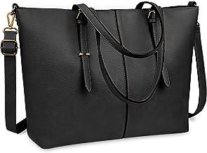 کیف دستی لپ تاپ مخصوص خانمها 15.6 اینچ ضد آب سبک وزن چرم رایانه لپ تاپ کیسه های زنانه دفتر کار کیف دستی کیف دستی کیف بزرگ سفره کیف دستی شانه سیاه