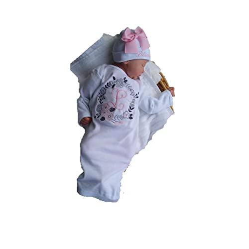 Theposhlayette Newborn Baby Girl Coming Home Outfit Personalized Layette Gown with Beanie Baby Girl Gifts Pink Brown