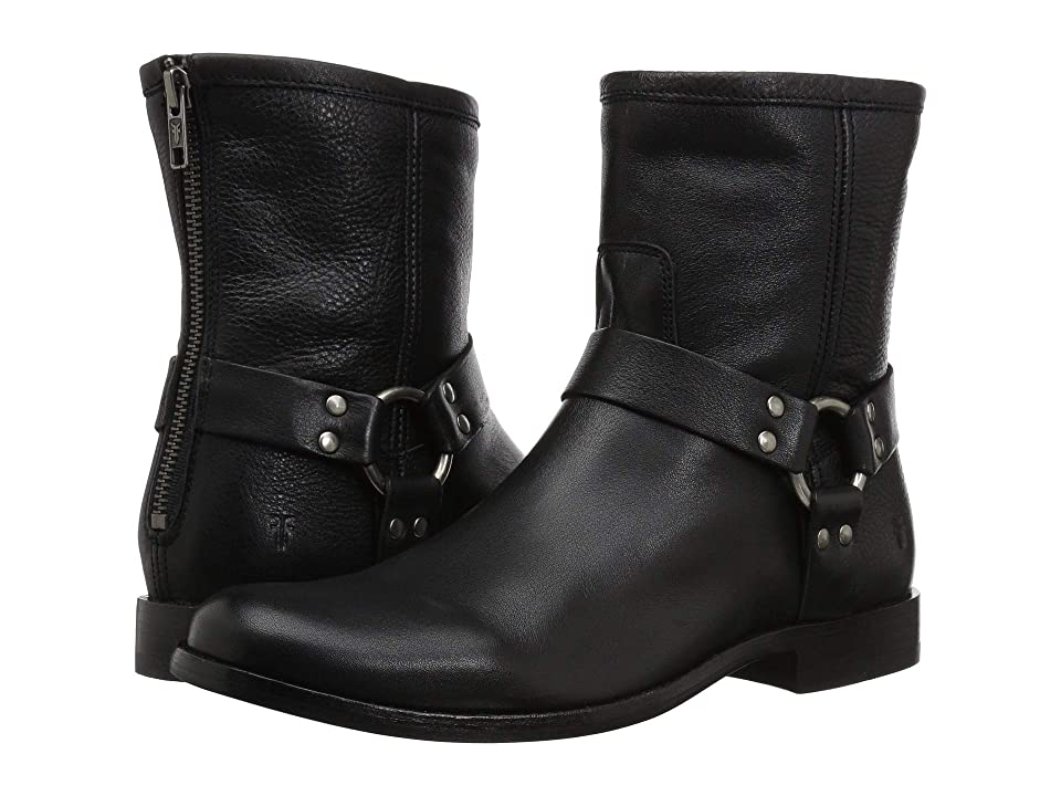 Frye Phillip Harness Short (Black Soft Vintage Leather) Women