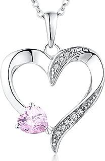 YL Heart Necklace 925 Sterling Silver Love Heart Pendant with 5MM5MM Heart Blue Sapphire/Ruby/Pink/Amethyst/Emerald/Zirconia Birthstone Women Jewelry