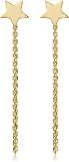 KoolJewelry 14k Yellow Gold 6 mm Star Stud Drape Earrings