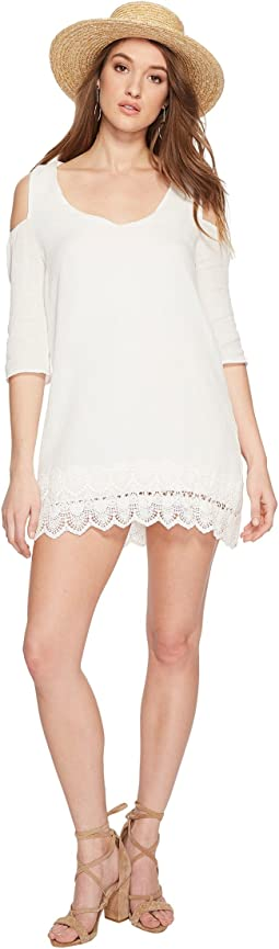 Stefani Cotton Gauze Dress with Scallop Lace Hem