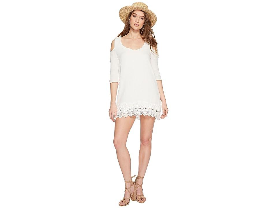Jack by BB Dakota Stefani Cotton Gauze Dress with Scallop Lace Hem (Off-White) Women