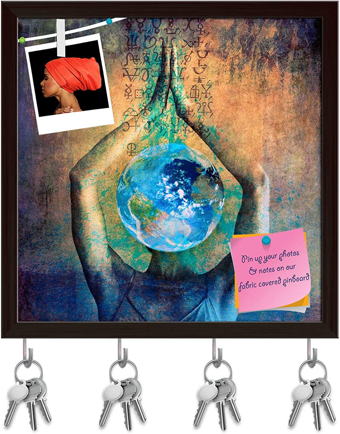 Artzfolio Female Earth Ilustration with Alchemical Signs Key Holder Hooks   Notice Pin Board   Dark Brown Frame 20 X 20Inch