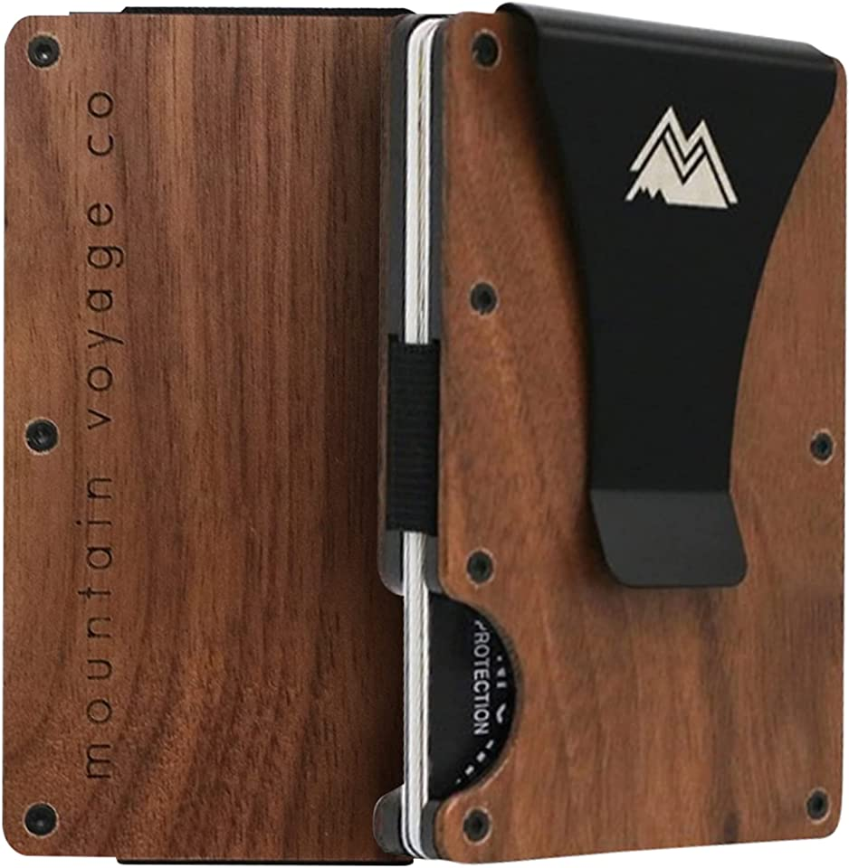 Mountain Voyage Wood Credit Card Holder – Minimalist Wallet for Men – Deluxe RFID Wallet with Natural Wood and Metal – Slim and Elegant Design – Premium Box Packaging