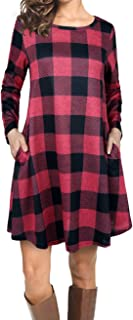 EMVANV Women's Casual Loose Long Sleeve Plaid T Shirt Dress with Pockets
