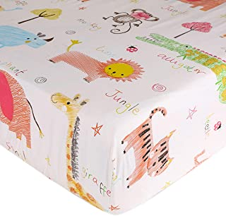 UOMNY Crib Sheet 100% Cotton Crib Fitted Sheets Baby Sheet for Standard Crib and Toddler mattresses Nursery Bedding Sheet Crib Mattress Sheets for Boys and Girls 1 Pack Zoo Pattern