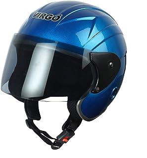 Virgo TreFinger Glossy Tinted Open Face Helmet (Blue)