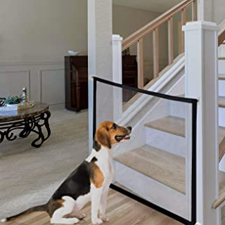 Mesh Dog Gate, Portable Folding Magic Gate, Safety Guard for Pet, Safety Fence Fits Spaces Between 32IN to 39IN Wide