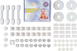 58PCS JollyAngels Baby Proofing Kit | Magnetic Cabinet Locks | Child Proof Electrical Outlet Covers | Table Corner Guards...