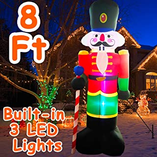 8 Feet Christmas Nutcracker Soldier Inflatable Outdoor Decoration, Blow Up Decorations with 3 LED Lights 2 Plastic Inserts 2 Windproof Drawstrings 2 Iron Nails for Xmas Outdoor Birthday Party