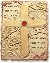 BANBERRY DESIGNS Religious Stone Wall Art - Thank God for What You Have Inspirational Saying - Cross Plaque with Flowers and Jewels - Decorative Faith Stone