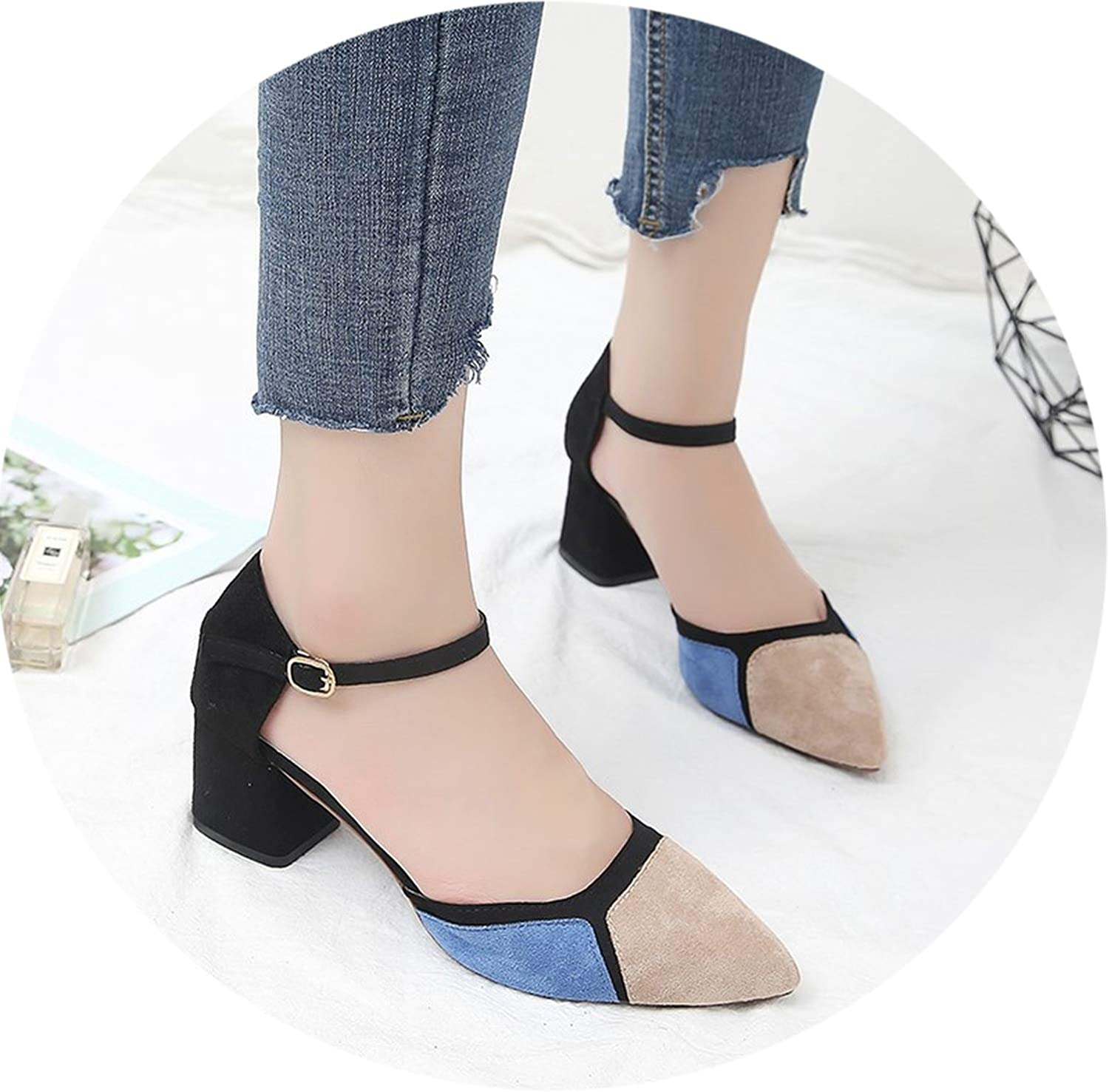 Thick with Shallow colorblock Pointed Toe Pumps Dress High Heels Single shoes k11
