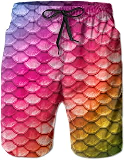 Lixinli Men's Beautiful Rainbow Mermaid Fish Scales Swim Trunks Beach Shorts