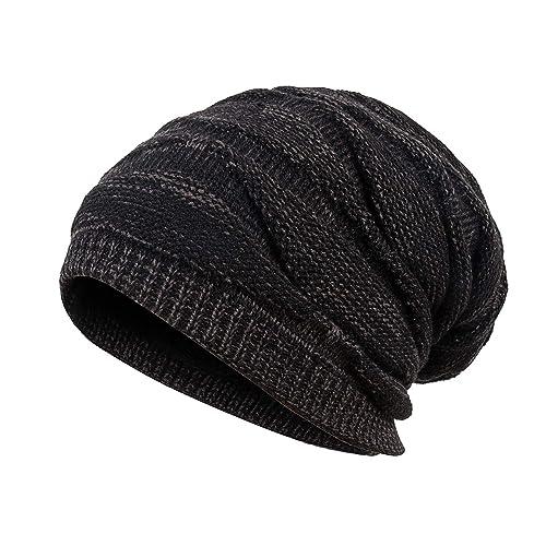 389f5896e4e Mens Winter Plus Velvet Warm Knitting Hats Wool Baggy Slouchy Beanie Hat  Skull Cap Ski Cap