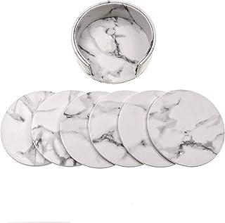 JZK 6 x Wit Marmer Effect Lederen Onderzetters voor Drankjes met Houder, 9,7 cm 3,7 inch Ronde Cup matten Coaster Set voor...